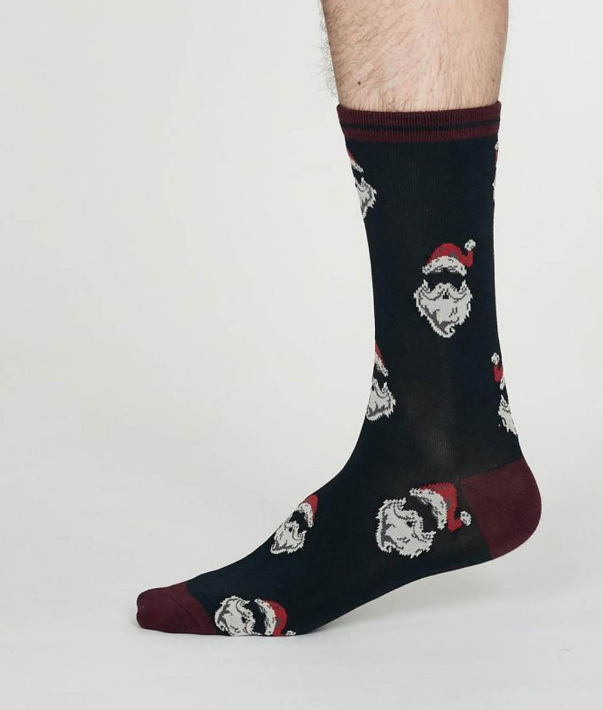 Thought Clothing Nicholas Bamboo Christmas Santa Socks - Midnight Blue