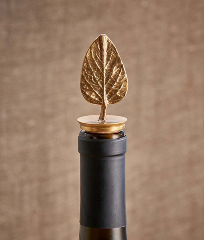 Nkuku Poplar Leaf Brass Bottle Stopper