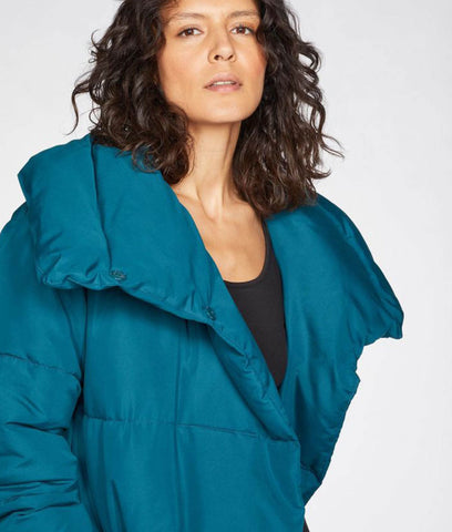 Thought Clothing Phebe Recycled Polyester Long Puffer Jacket - Kingfisher Green