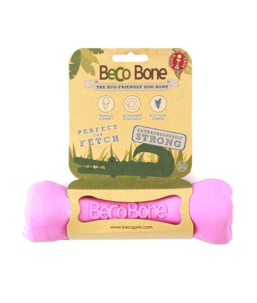 Beco Natural Rubber Chew Bone - Pink