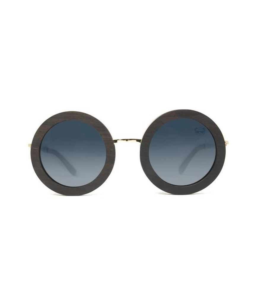 Fresh For Pandas Chic Round Polarised Wooden Sunglasses