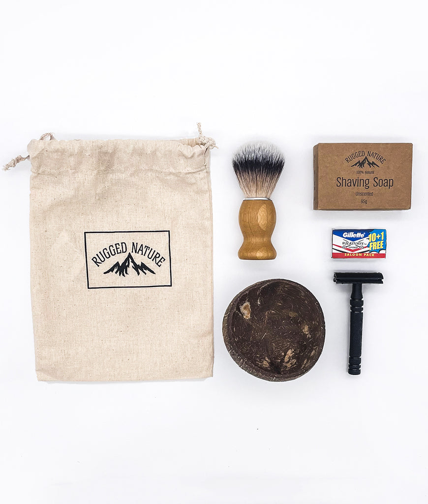 Rugged Nature Black Safety Razor Shaving Kit