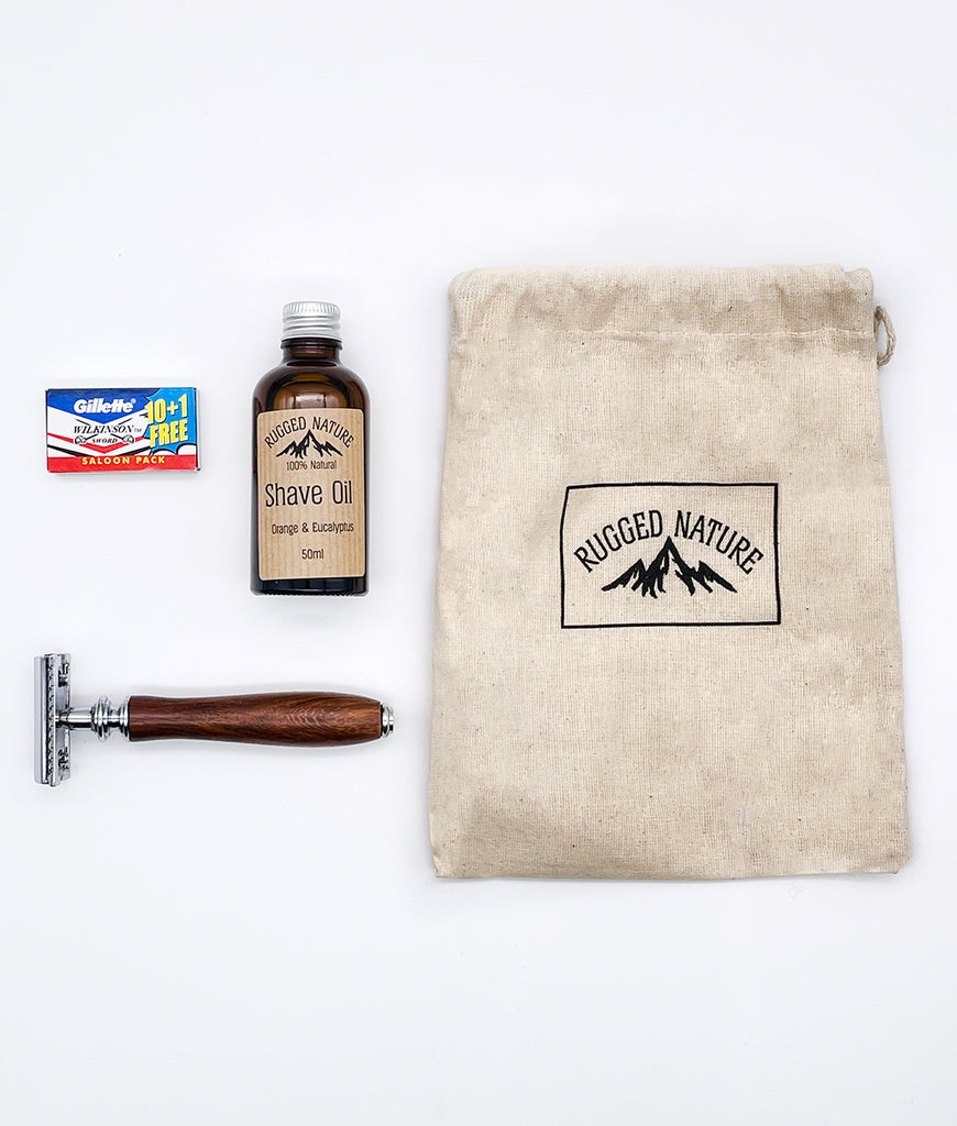 Rugged Nature Rosewood Safety Razor Shaving Kit