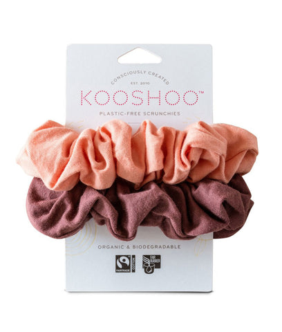 KooShoo Organic Hair Scrunchies - Coral Rose