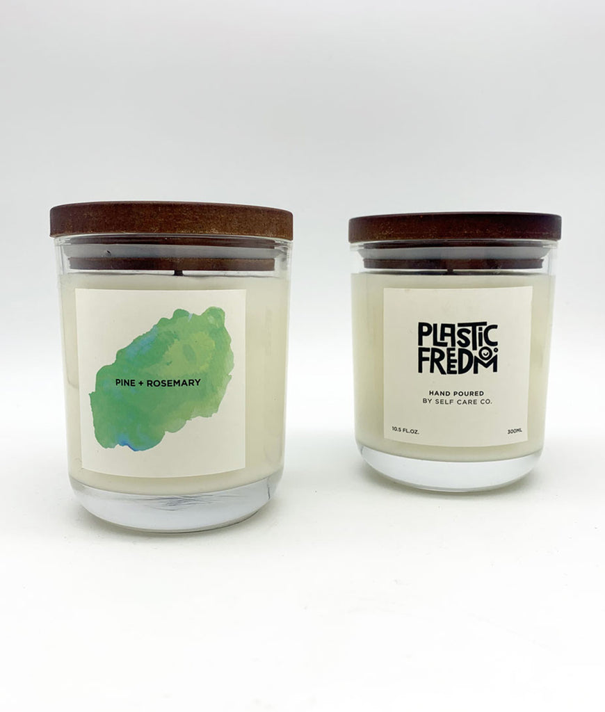 DAMAGED Plastic Freedom x Self Care Co Candle - Pine & Rosemary
