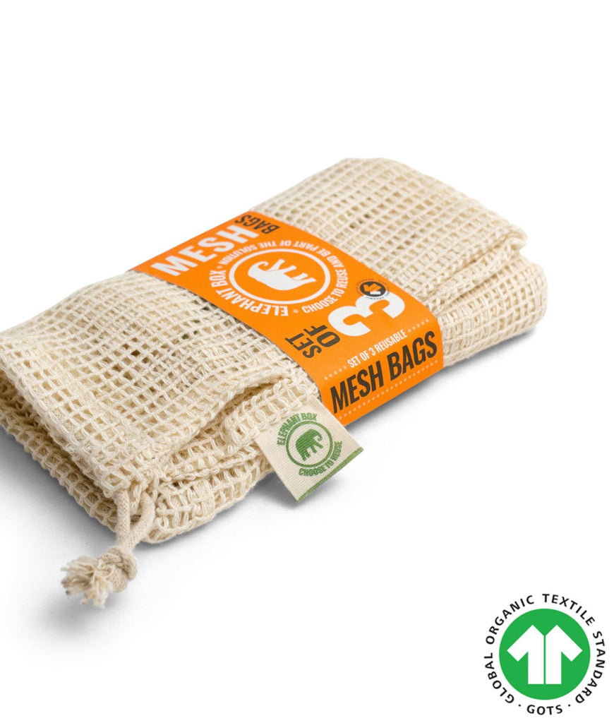 Elephant Box Organic Cotton Mesh Produce Bag - x3 Mixed Pack