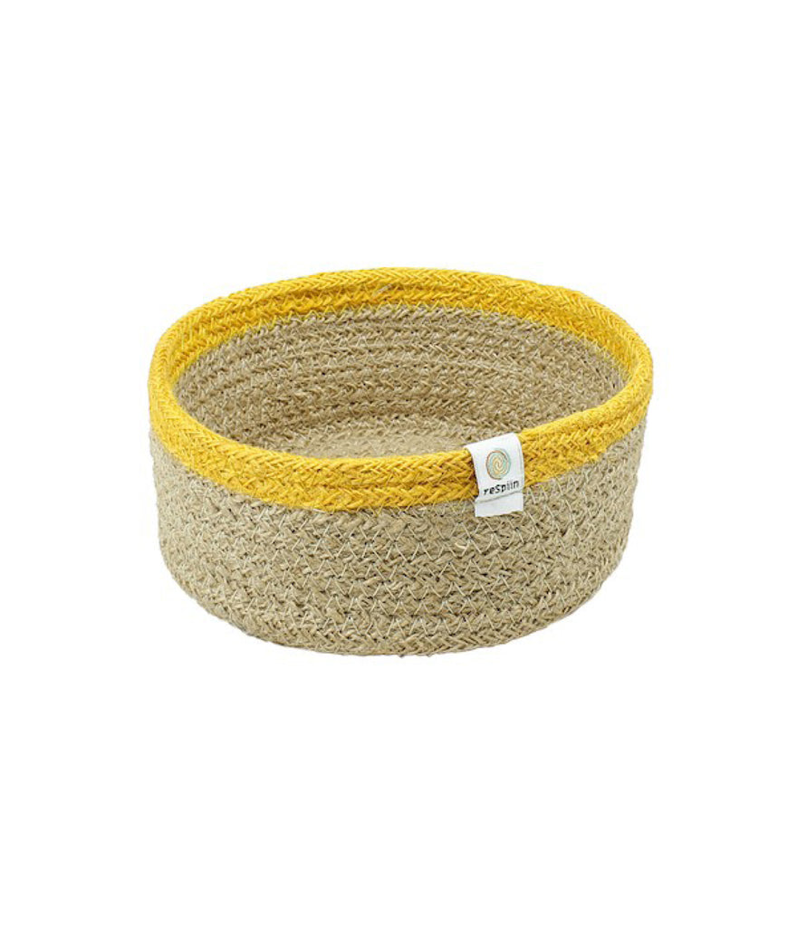 ReSpiin Shallow Seagrass & Jute Small Basket - Yellow
