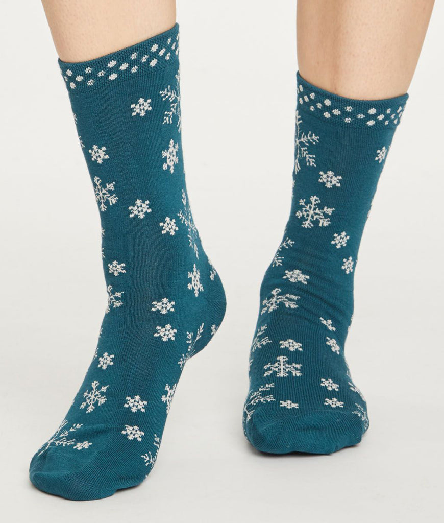 Thought Clothing Snowflake Ethical Socks - Teal