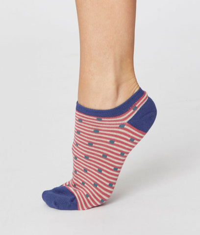 Thought Clothing Spot and Stripe Ankle Socks - Blush Pink