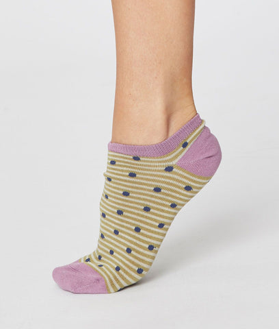 Thought Clothing Spot and Stripe Ankle Socks - Pear Green