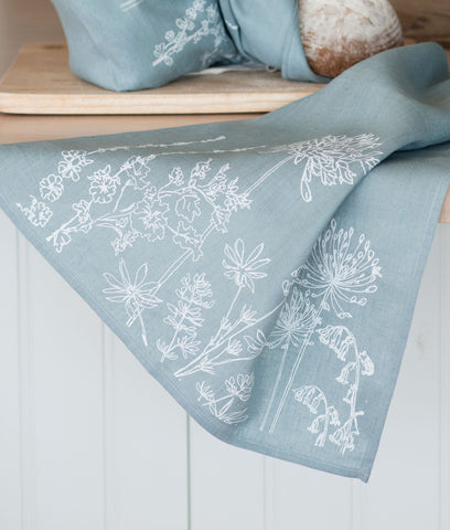 Helen Round Pure Tea Towel - Duck Egg Natural