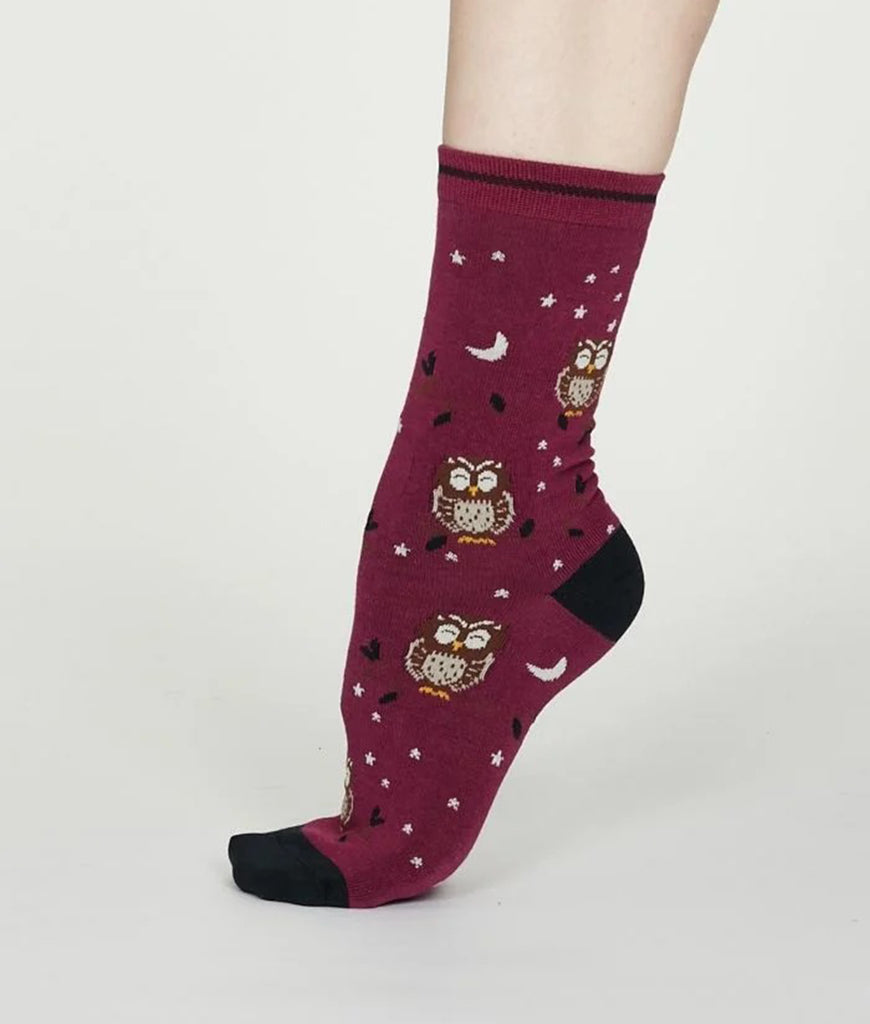 Thought Clothing Night Bamboo Owl Socks - Magenta Pink