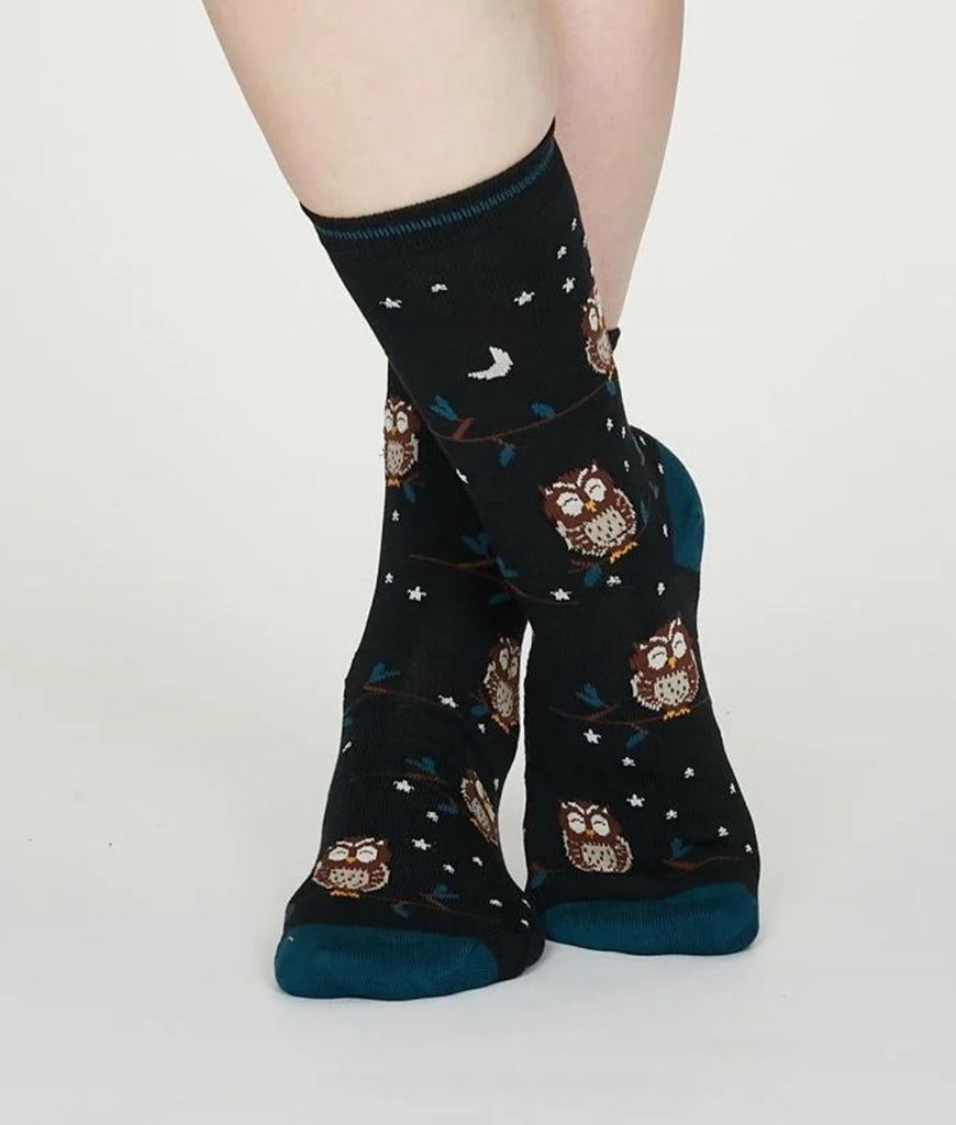 Thought Clothing Night Bamboo Owl Socks - Midnight Blue