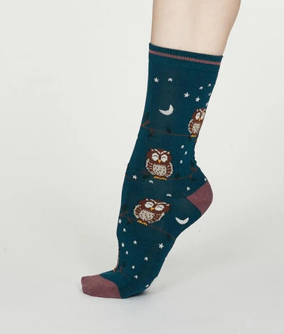 Thought Clothing Night Bamboo Owl Socks - Teal Blue