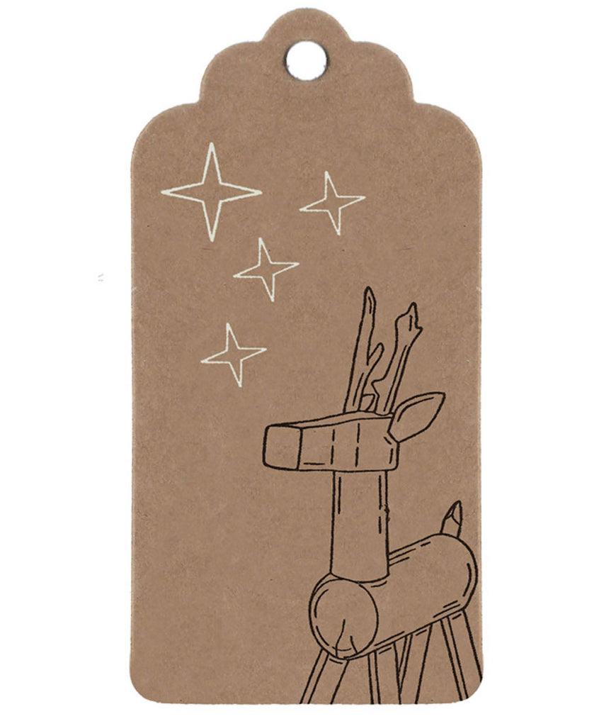 Wrapped By Alice Christmas Gift Tag - Toy Reindeer