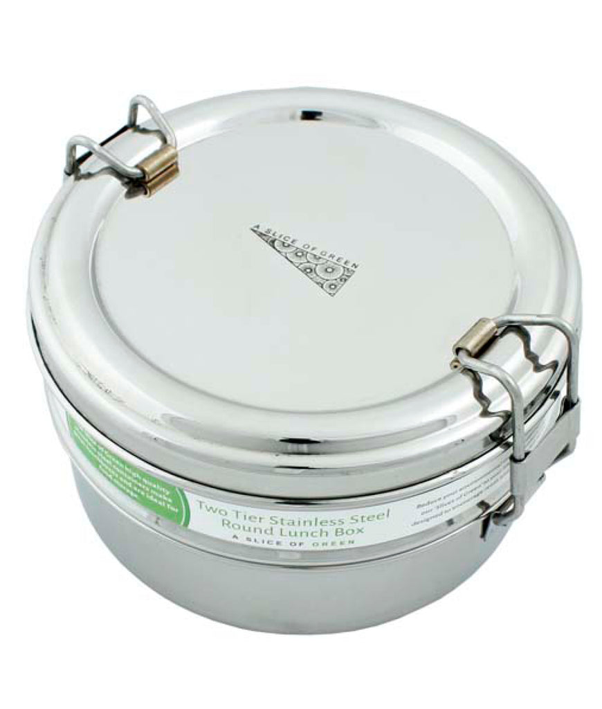 A Slice Of Green Two Tier Round Lunch Box