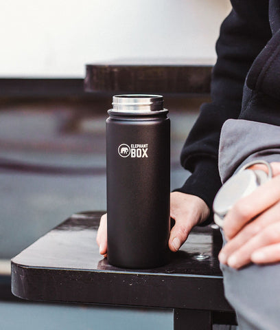 Elephant Box Black Wide Mouth Insulated Bottle - 500ml