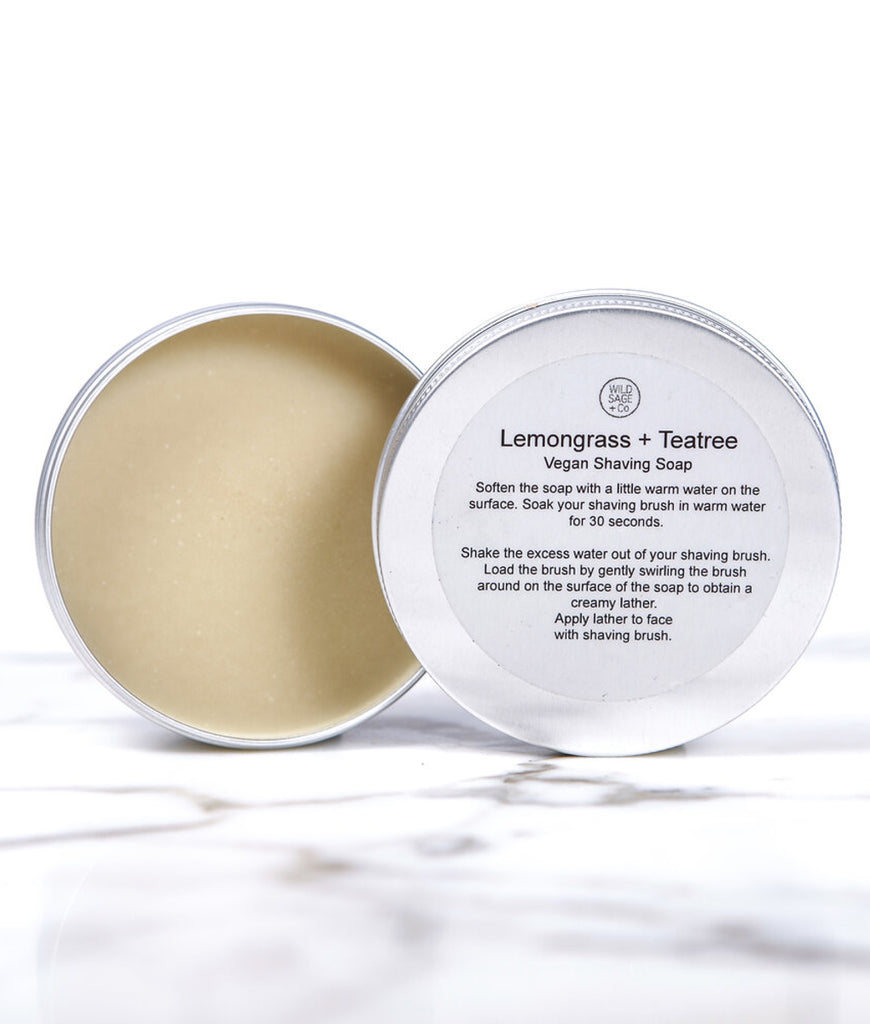 Wild Sage + Co Lemongrass & Tea Tree Shaving Soap - 150ml