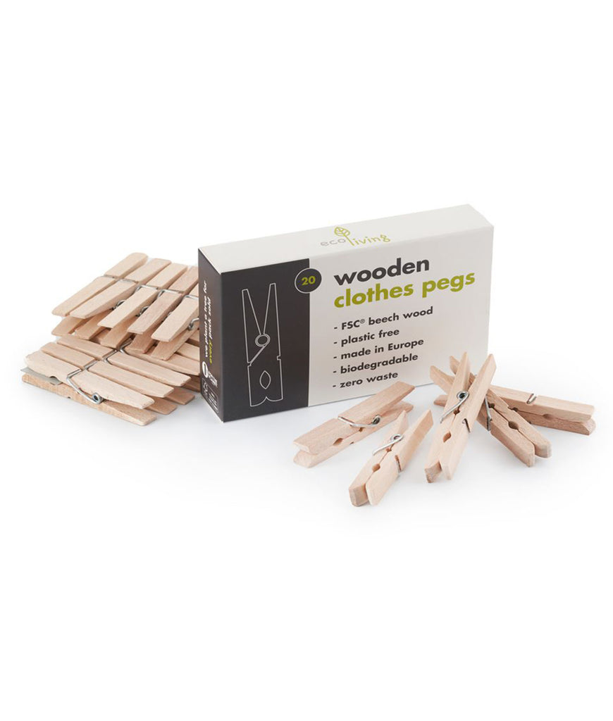 Eco Living Wooden Clothes Pegs - x20 Pack