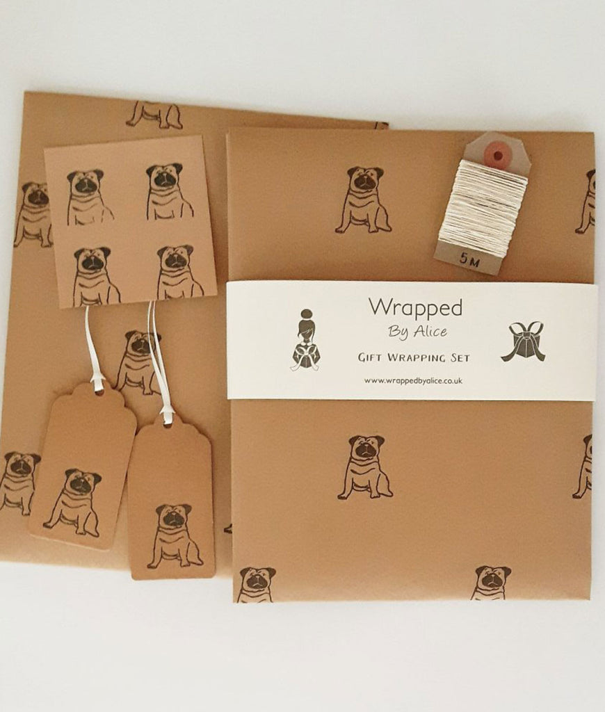 DAMAGED Wrapped By Alice Wrapping Set - Pug