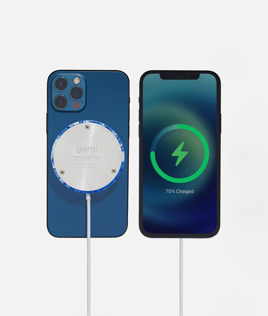 Zero Waste Club Plastic-Waste Wireless Magnetic Charger - Blue