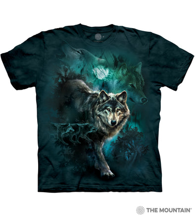 The Mountain Adult Unisex T-Shirt - Night Wolves Collage