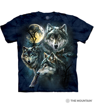 The Mountain Adult Unisex T-Shirt - Moon Wolves Collage