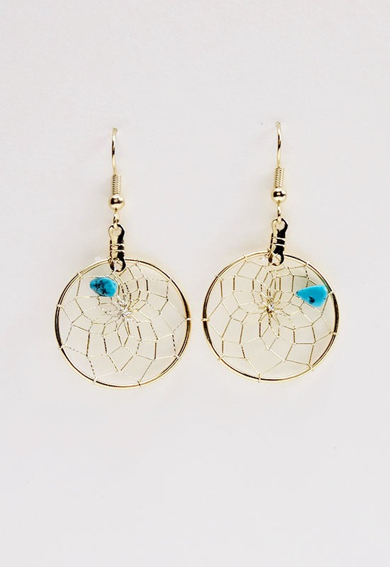 "DCG1B-1""GOLD DC EARRING-TURQUOISE  MON01"