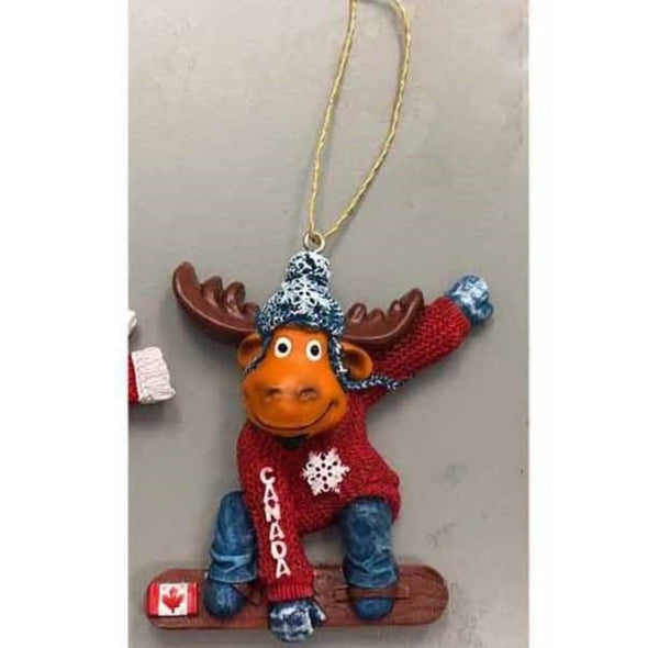 Christmas Ornaments-Moose SkateBoard
