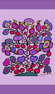Floral Cotton Tea Towel by Norval Morrisseau Woodland