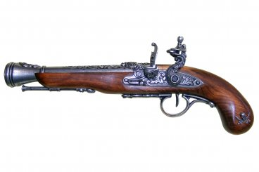 FLINTLOCK PIRATE PISTOL, 18TH. C. (LEFT-HANDED)