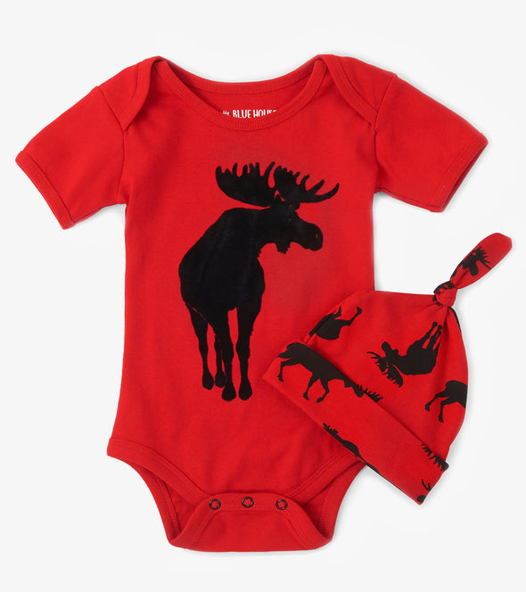 Infant Romper with hat  - Moose on red