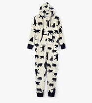Adult Hooded Fleece Jumpsuit Black Bears-Style 26887