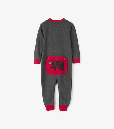 Kids Charcoal Bear Naked Union Suit