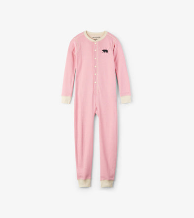 Kids Pink Bear Bum Union Suit