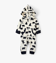 Baby Fleece Jumpsuit-Black bears