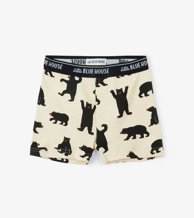 Men Boxer Briefs-Black Bears on Natural