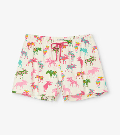 Women's Patterned Moose Sleep Shorts