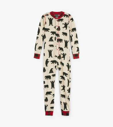 Kids Black Bear Union Suit