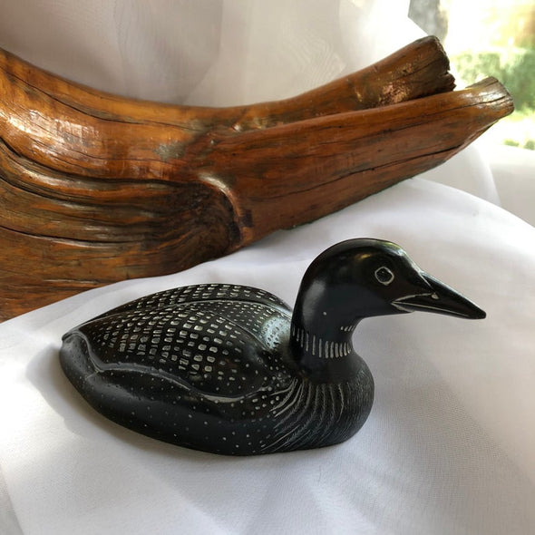 Vintage Carved Resin Loon Sculpture/Figurine - Made in Canada