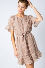 Load image into Gallery viewer, Mocha Floral Embellished Dress with Waist Tie - June Adel