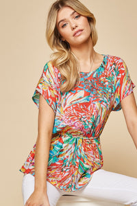 Colorful Printed Short Sleeve Top by Andree by Unit - June Adel