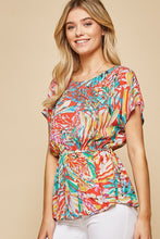 Load image into Gallery viewer, Colorful Printed Short Sleeve Top by Andree by Unit - June Adel