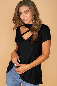 Black Top with Asymmetrical Cutout Choker Neck - June Adel