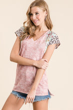 Load image into Gallery viewer, Pink Tie Dye Top with Leopard Trim on Sleeves - June Adel