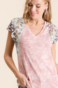 Pink Tie Dye Top with Leopard Trim on Sleeves - June Adel