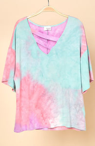 Tie Dye Top with Strap Neckline