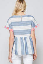 Load image into Gallery viewer, Blue Striped Babydoll Top with Colorful Tassels - June Adel