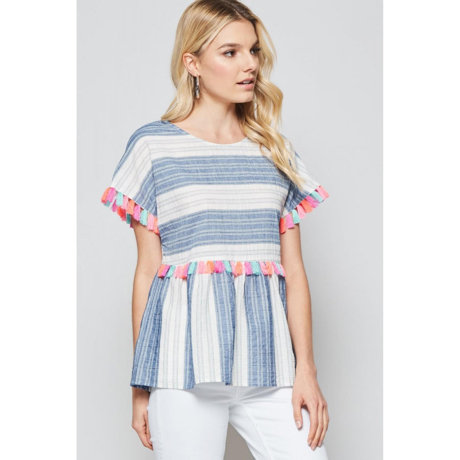 Blue Striped Babydoll Top with Colorful Tassels - June Adel