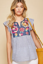 Load image into Gallery viewer, Embroidered Floral Top in Denim by Savanna Jane - June Adel